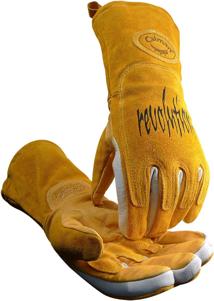 Caiman 1868-6 Extra Large Tungsten Inert Gas and Multi Task Glove with Unlined Goat Grain Leather Palm Pearl and Gold