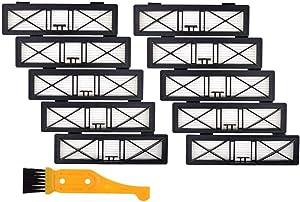 DerBlue Compatible/Replacement Parts 10PCS Neato Botvac Connected Ultra Performance Filters (D80, D85) for Neato Vacuum Parts D80, D85,D5,D7,D70,70e, 75,Bonus A Free Cleaning Brush