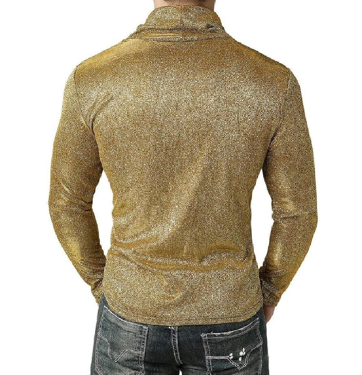 YIhujiuben Mens Fashion Cowl Neck Shiny Long Sleeve T Shirt Blouse Tops