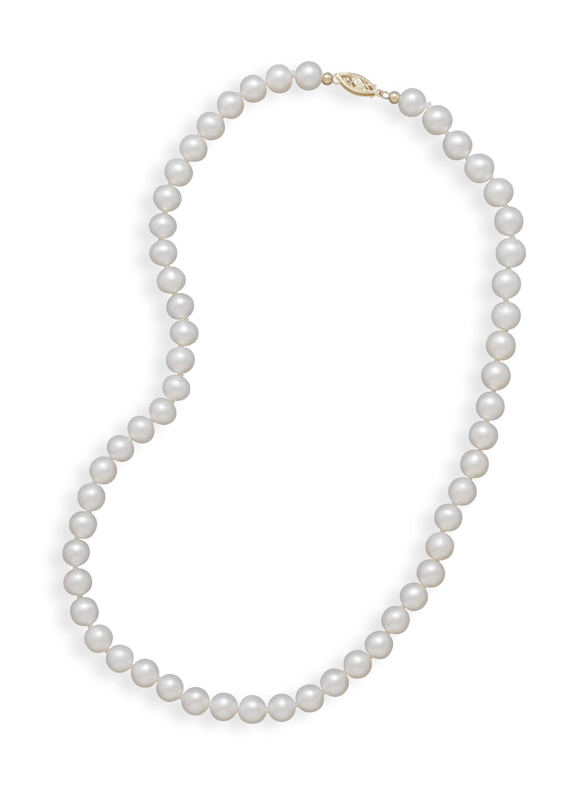 Cultured Freshwater Pearls, 24 in Knotted Matinee-Length Necklace,14K Clasp, 6.5-7mm