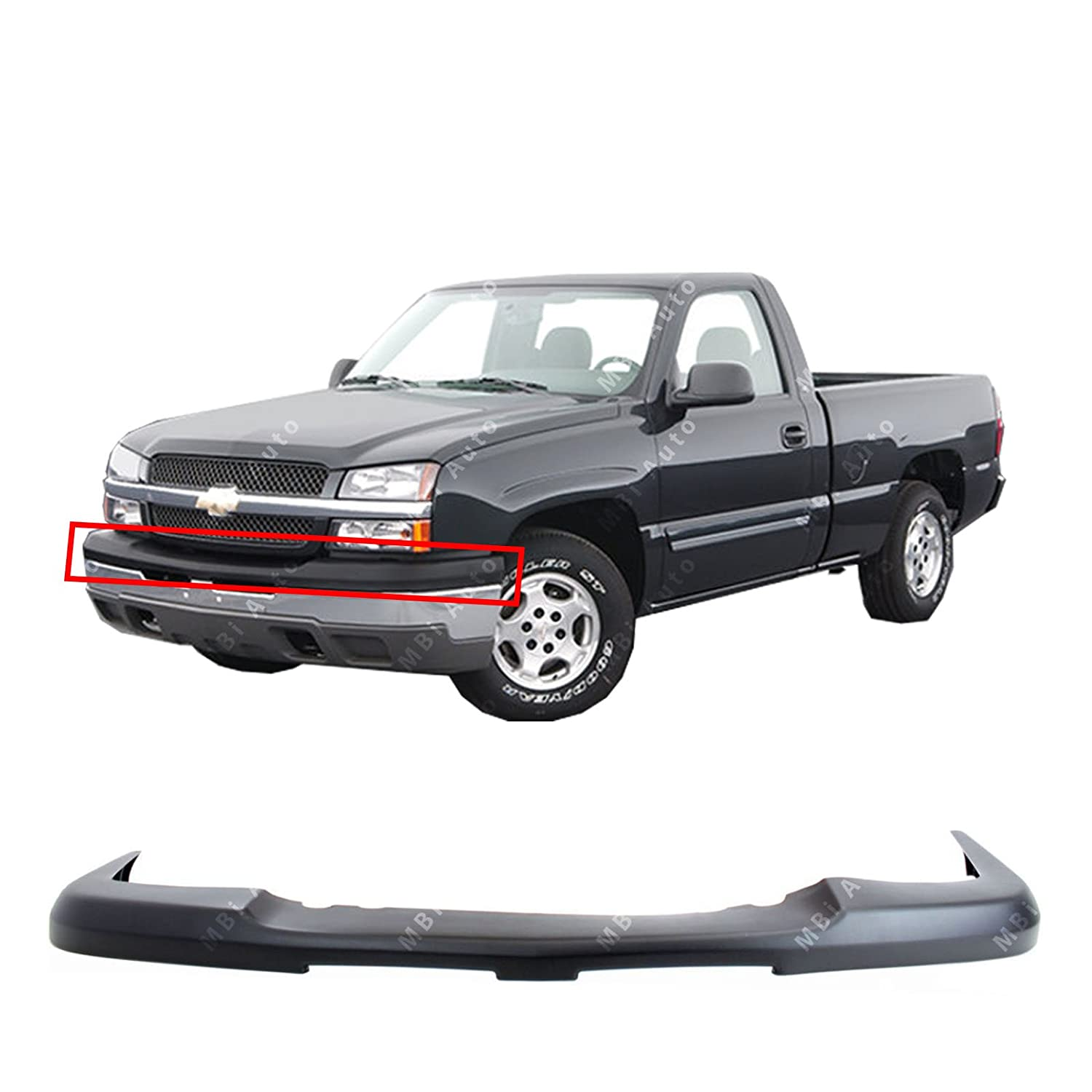 MBI AUTO - Textured, Black Front Upper Bumper Top Cover for 2003 2004 2005 2006 Chevy Silverado & Avalanche 03-06, GM1051110