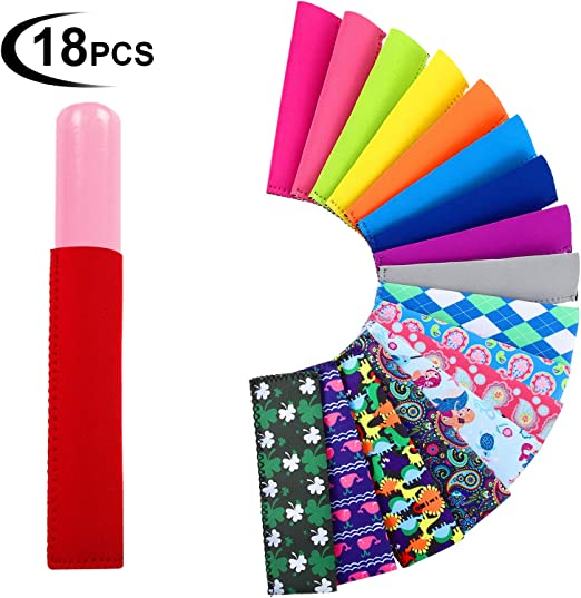 Reusable Popsicle Bags Ice Pop Sleeves Anti Freezing Sleeves Holders Bags Neoprene Fabric Set of 12
