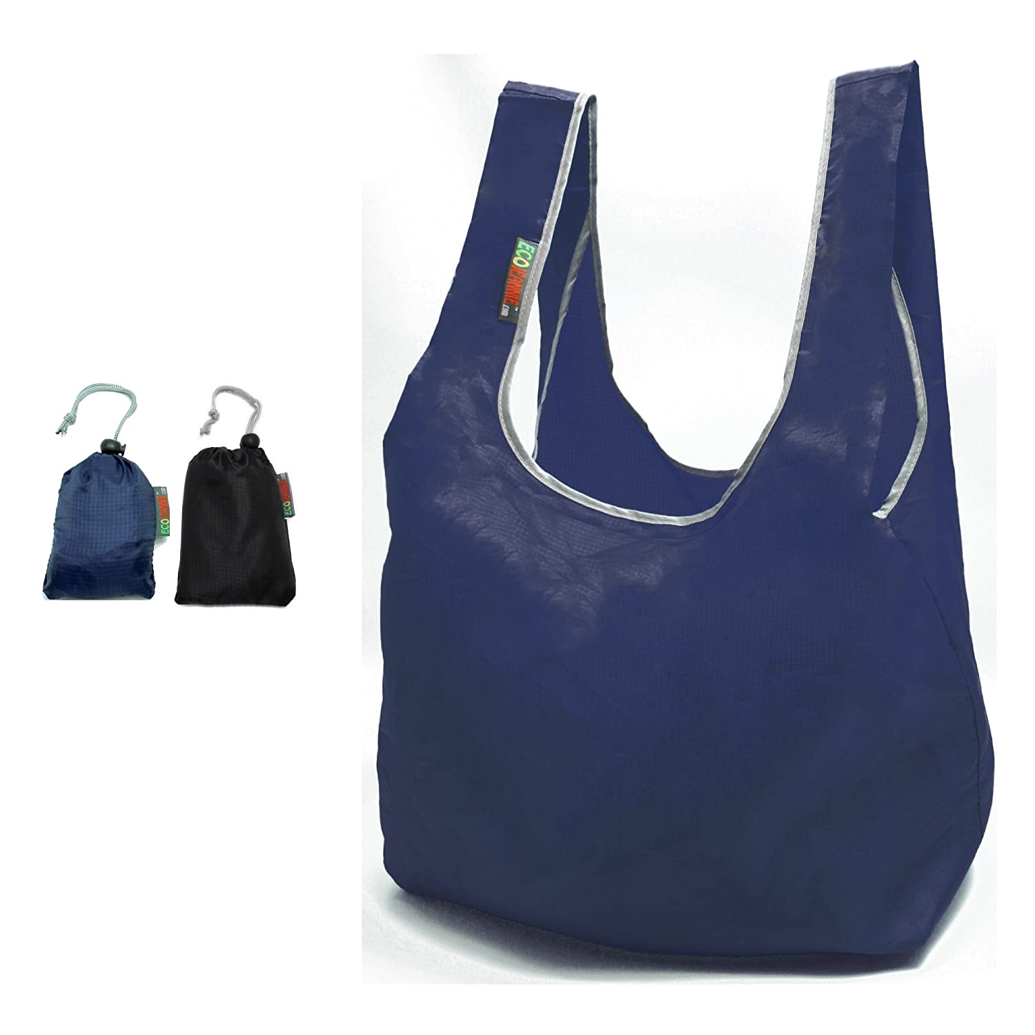 【30%OFF】 Ecojeannie 2 Pack Super Strongリップストップナイロン折りたたみ式再利用可能なバッグGrocery Shopping Tote Navy, Bag 9 Black with組み込みポーチ 9 Wx5.5 L RBS208 B00VAIY4XA Navy, Black Navy, Black, Little Rain:8c2289a2 --- lazypandafilms.com