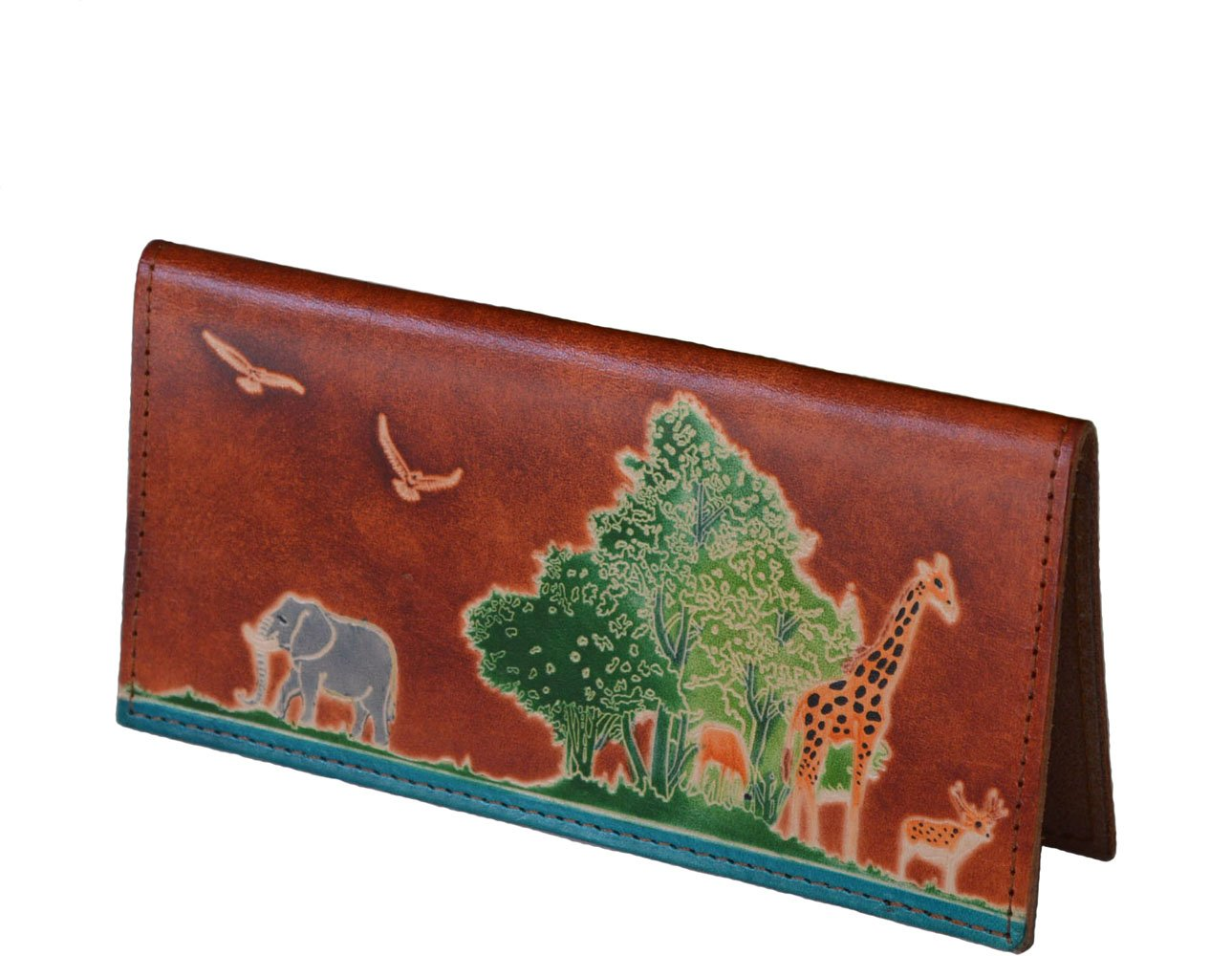 Genuine Leather Checkbook Cover, ''Animal Kingdom'' Pattern Embossed, More Color (Brown)