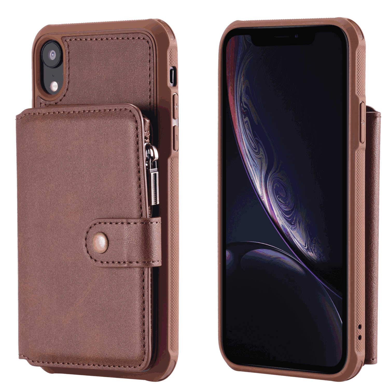 Cover for iPhone 7 Leather Extra-Shockproof Business Mobile Phone Cover Kickstand Card Holders with Free Waterproof-Bag iPhone 7 Flip Case