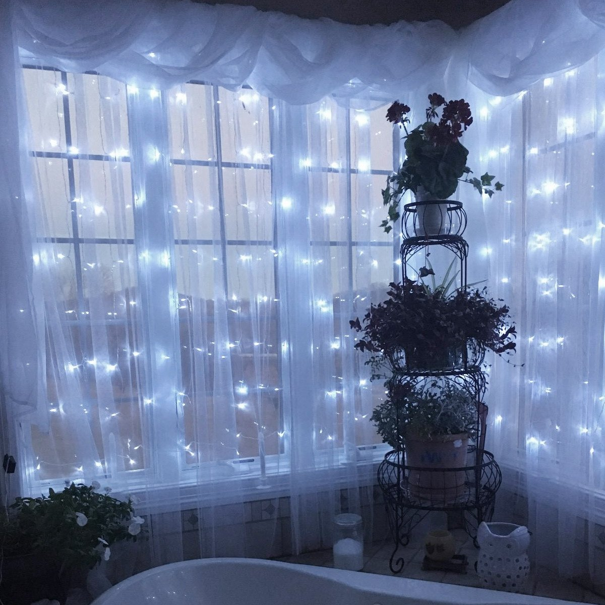 LE 300 LED Window Curtain String Light Daylight White Icicle Fairy Light with Remote 8 Modes Setting Timer Function Wall Decoration for Wedding Patio Party USB and Battery Powered Included