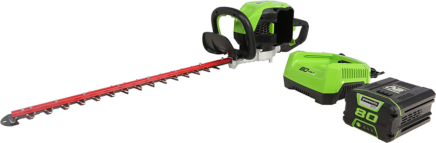 Greenworks Pro 80V 26″ Brushless Hedge Trimmer (1.2″ Cutting Capacity), 2Ah Battery and Rapid Charger