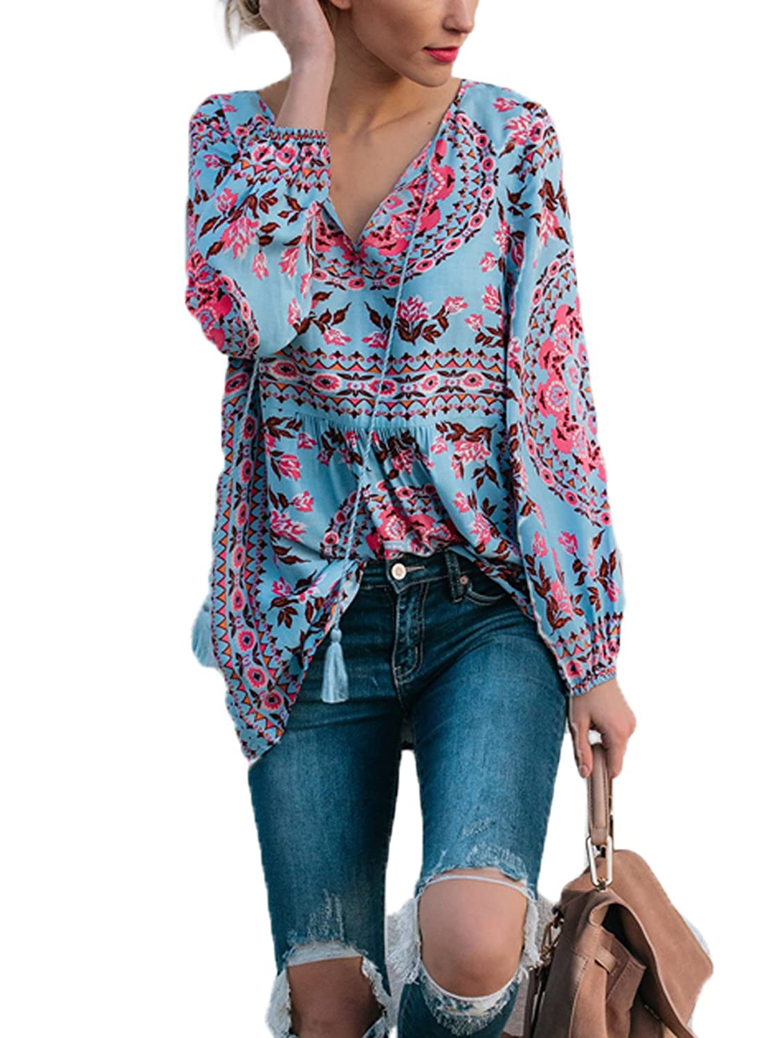 fae0f7919ec FARYSAYS Women's Casual V Neck Long Sleeve Floral Print T-Shirts Tops Blouse