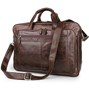 ESD Vintage Genuine Leather Briefcase Messenger Bag for men Fit 17'' Laptop