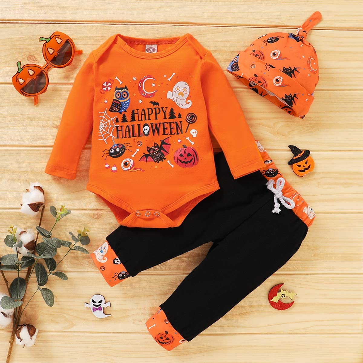 Ghosts Pants Hat 3PCS Bodysuit Romper Christmas Jumpsuit Outfits Claus Set T TALENTBABY Infant Boys Girls Halloween Pumpkin Tops Shirt