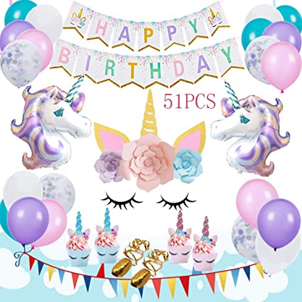 AIFUN Unicorn Balloons Birthday Party Decorations