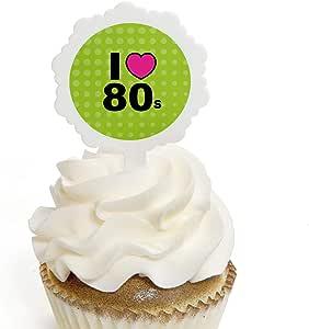 80 s Retro – Púas para cupcakes con pegatinas – Totally 1980s Party Cupcake Toppers – 12 unidades: Amazon.es: Hogar