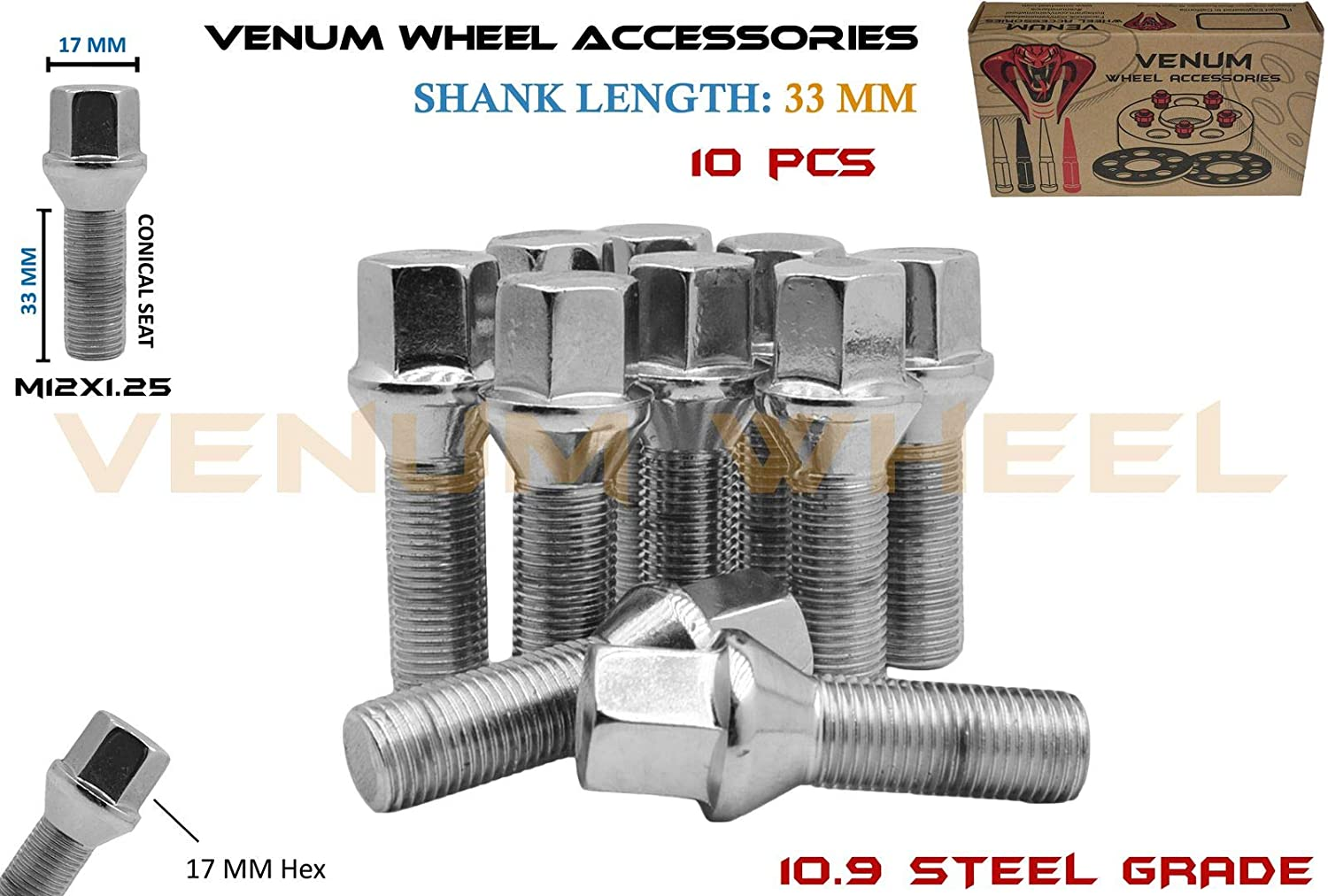 Venum wheel accessories 10Pc Chrome M12x1.25 Conical Seat Lug Bolts 33 MM Extended Shank Length Works with Jeep Fiat Dodge Chrysler Alfa Romeo Factory & Aftermarket Wheels