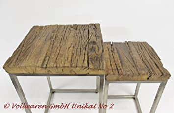 Teak Zweisatz Tisch Teakholz Antik Massiv Beistelltisch Satztisch