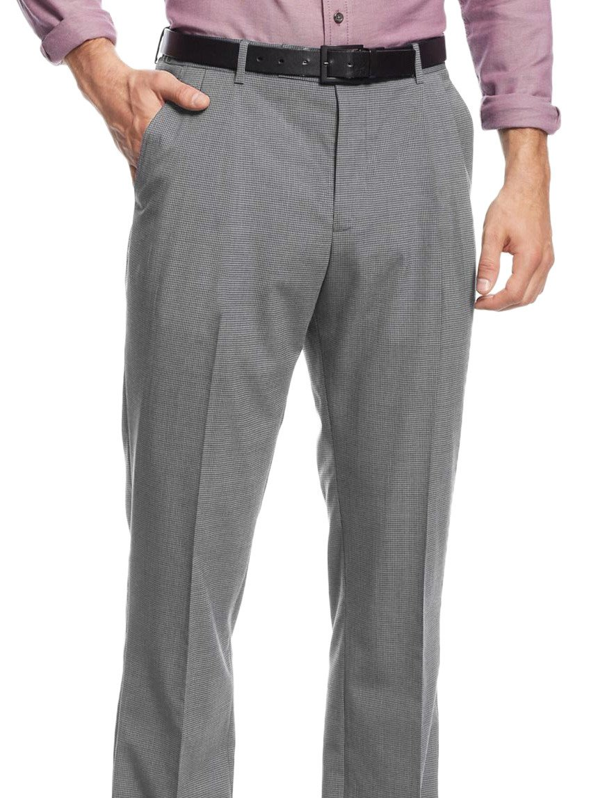 Nautica Men's Classic Fit Houndstooth Flat Front Dress Pants (30W x 30L, Grey) by Nautica (Image #1)