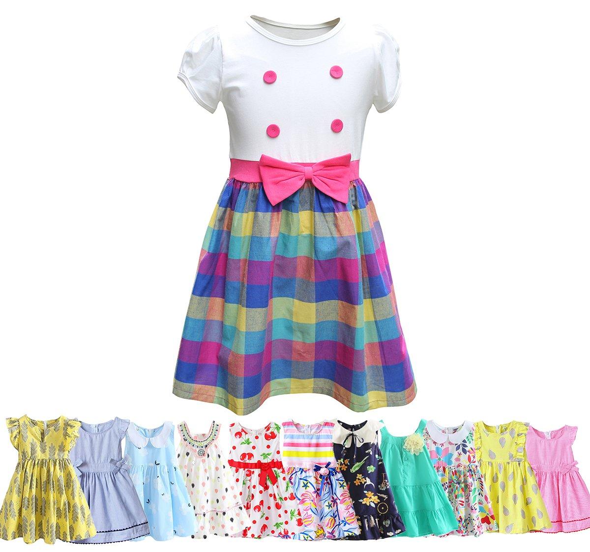 Abalaco Girls Kids 100% Cotton Soft Grid Summer Short Sleeve Sundress Casual Toddler Tutu Party Dress (Grid, 5-6 Years)