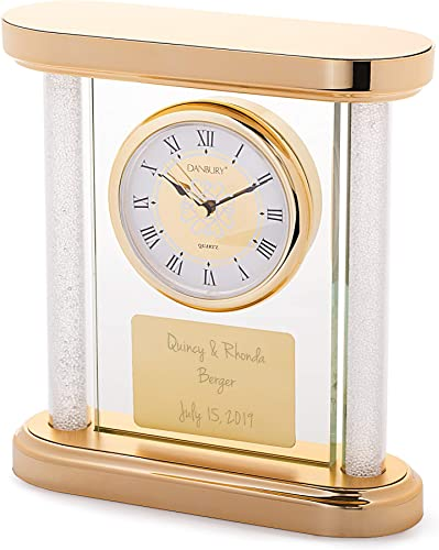Things Remembered Personalized Gold Panel Wedding Clock with Engraving Included