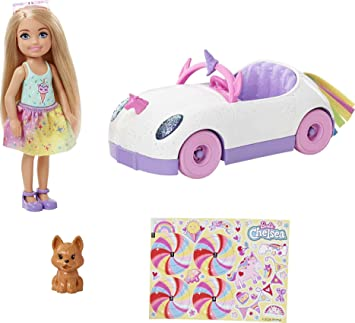 Barbie Club Chelsea Doll (6-inch Blonde) with Open-Top Rainbow Unicorn-Themed Car, Pet Puppy, Sticker Sheet & Accessories, Gift for 3 to 7 Year Olds