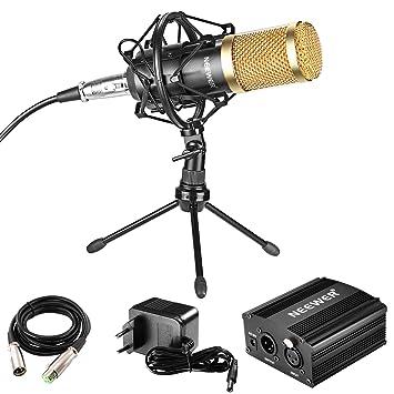 Neewer Profesional Micrófono Condensador Audio con Montura Antivibratoria de Mic Alimentación Phantom 48V Cable Micrófono XLR 3 Pin Mini Trípode ...