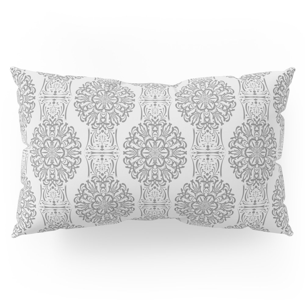 Society6 Gray White Damask Ornament . Pillow Sham King (20'' x 36'') Set of 2