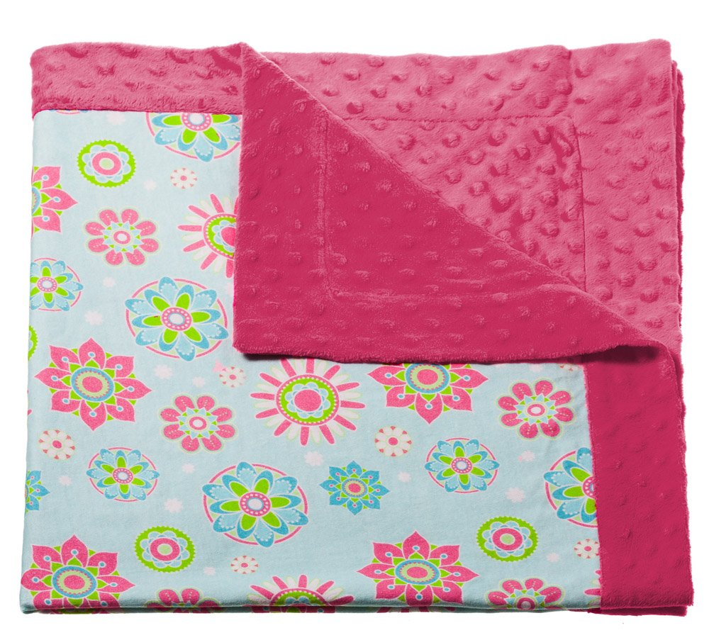 Pink Flower Printed Minky Dot Baby Blanket by Blossoms  Buds