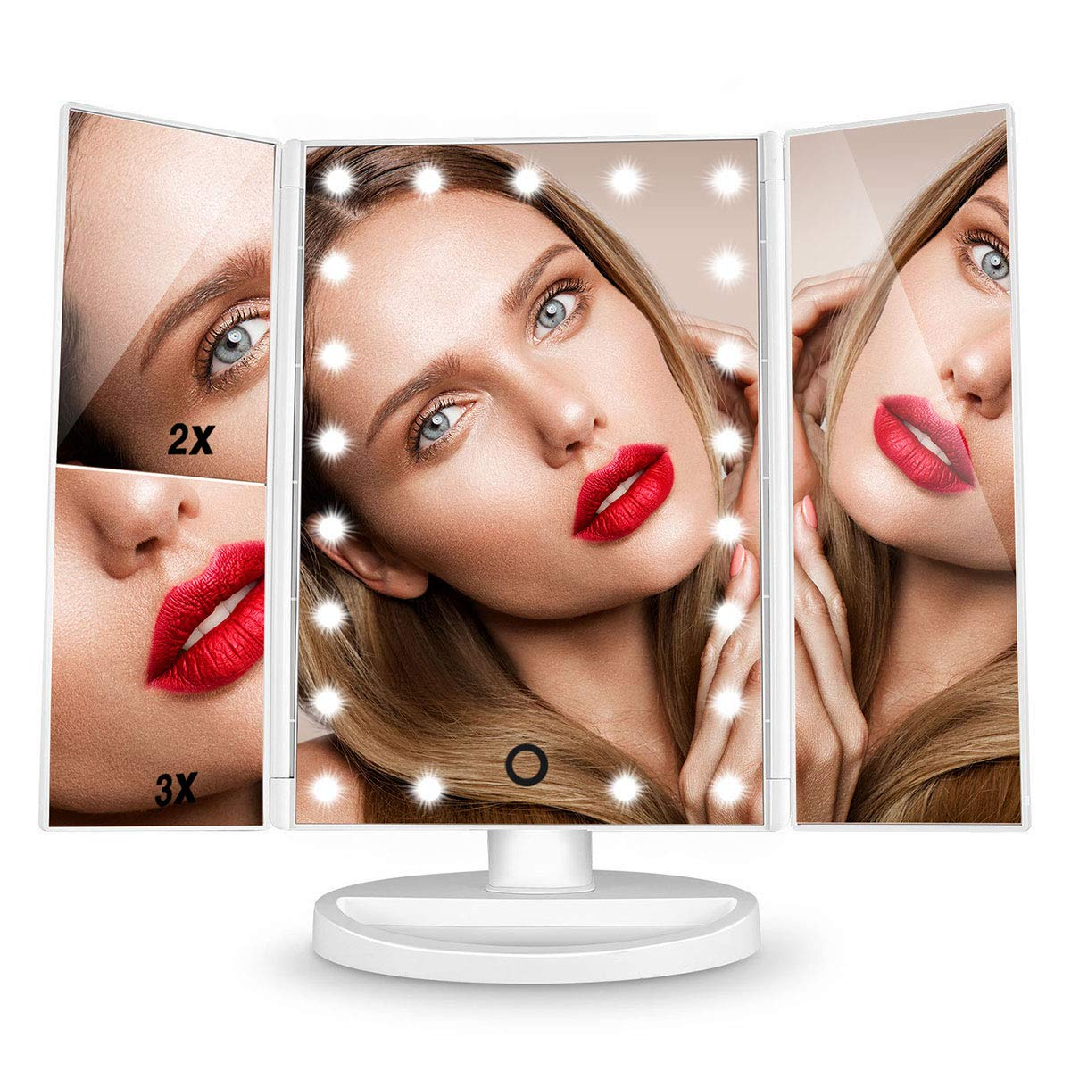 Vanity Mirror With Lights, HAMSWAN Lighted Makeup Mirror, Cosmetic Mirror, Magnifying Mirror-1X/2X/3X, Lighted Mirror with 21pcs Mirror Lights,180 Degree Rotation-White SM217-DL
