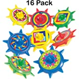 Plastic Star Spinning Tops 1.5 Inches - Pack Of 16 - Assorted Colors And Designs - Spin Tops For Kids, Great Party Favors, Bag Stuffers, Fun, Toy, Gift, Prize - By Kidsco
