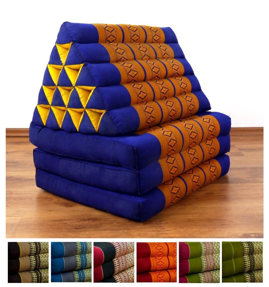 bluee   Yellow LivAsia XXL Three Fold Thai Cushion, 74x22x3 inches (LxWxH),extra big Triangle for Backrest, 100% Natural Kapok Filling, Foldable Thai Mat with Triangle Cushion, Headrest, Thai Pillow