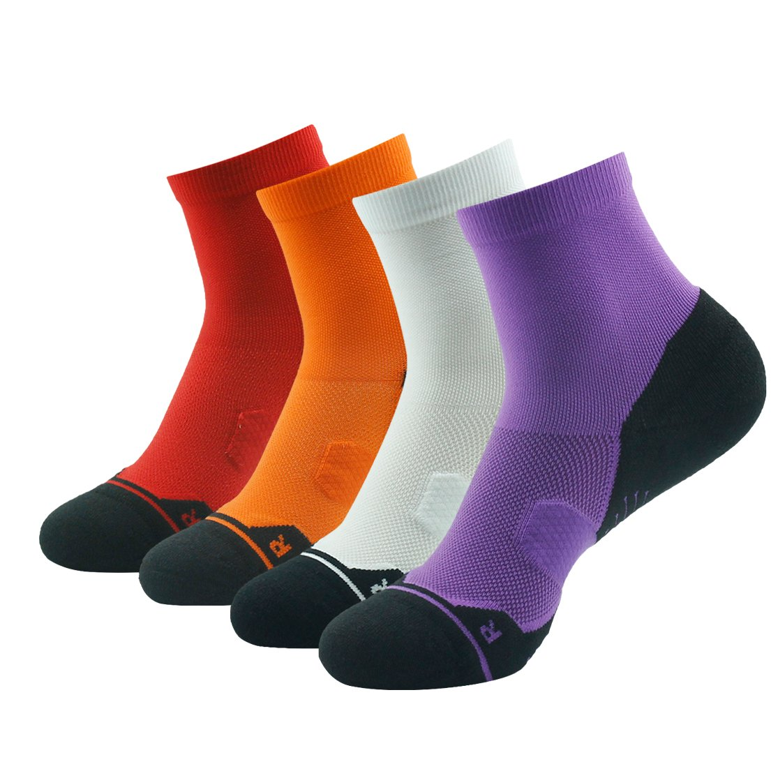 4 Pair Purple&orange&white&red Running Socks Support, HUSO Men Women High Performance Arch Compression Cushioned Quarter Socks 1,2,3,4,6 Pairs