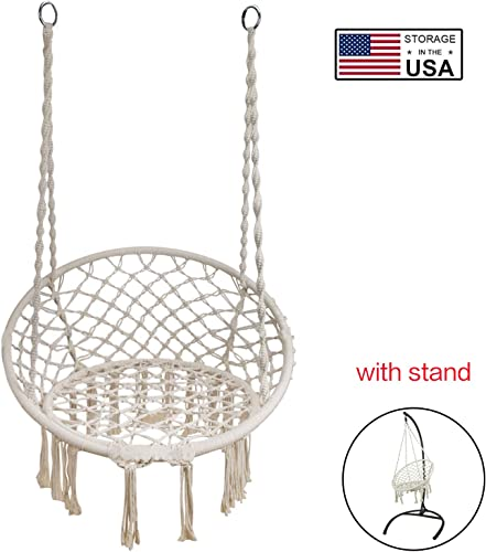 TheirNear Hanging Chair with Stand for Bedroom, Indoor Hammock Swing Chair