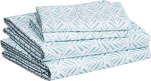 "AmazonBasics Lightweight Super Soft Easy Care Microfiber Bed Sheet Set with 16"" Deep Pockets - California King, Aqua Fern"