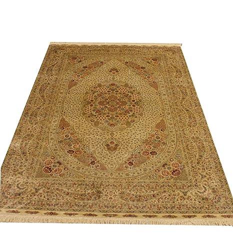 Amazon.com: Alfombra Camel de lujo, color beige, de seda ...