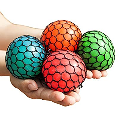 Anti-Stress Mesh Squishy Ball Squeeze Grape Ball Relieve Pressure Ball, Colors May Vary, 5 Pack: Toys & Games