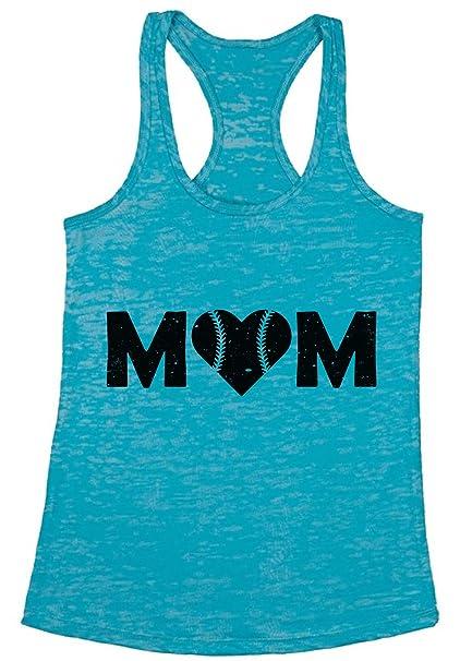 ad41b35ff9599 Awkward Styles Women s Baseball Mom Heart Burnout Racerback Tank Tops Black  Sport Mom s Heart ...