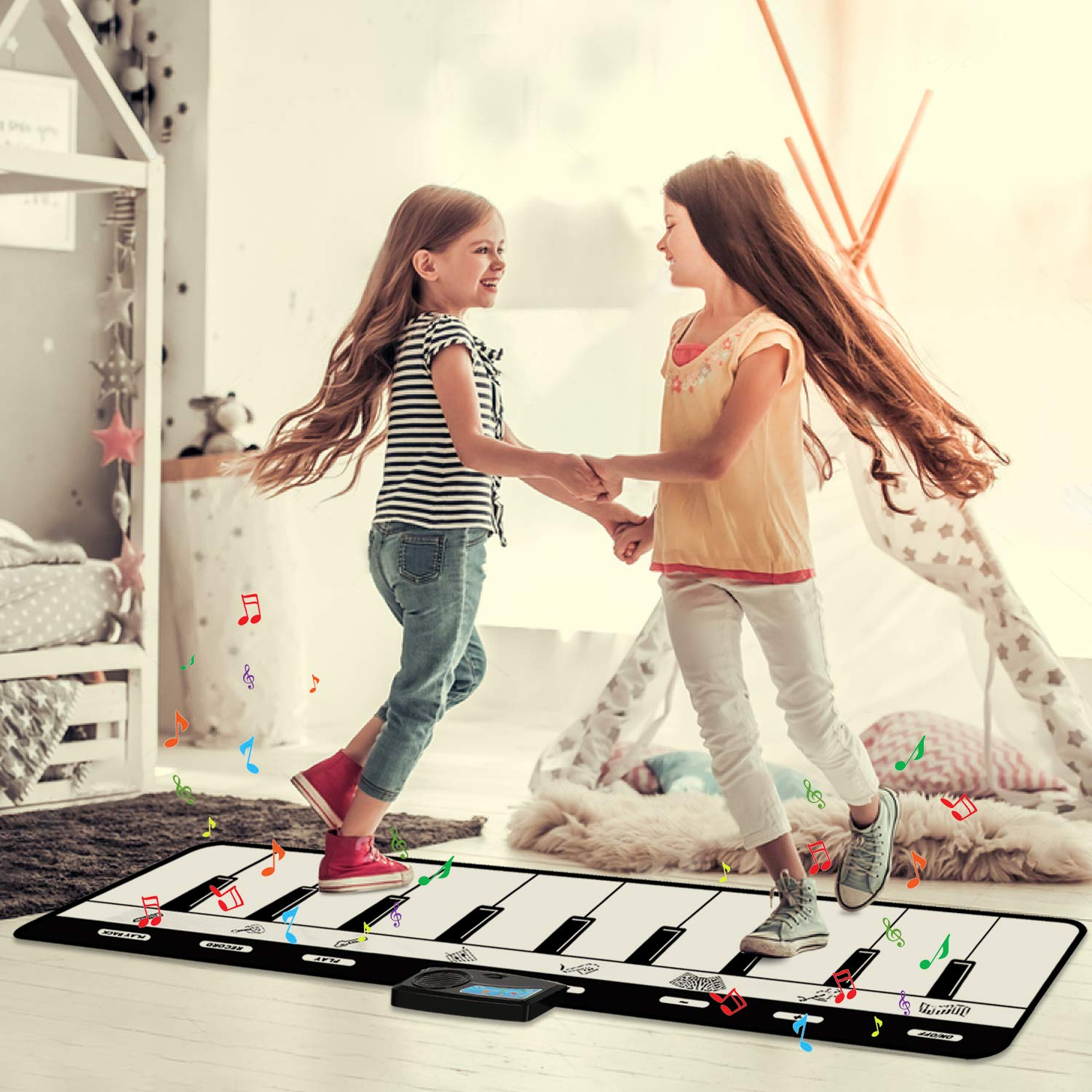 Kids Piano Mat, Keyboard Play Mat, Floor Piano Mat for Kids, Musical Piano Mat has 8 Musical Instruments, Record, Playback, Demo, Play, Best Birthday Christmas Day Gifts for Girls, Boys,Children by M SANMERSEN (Image #5)