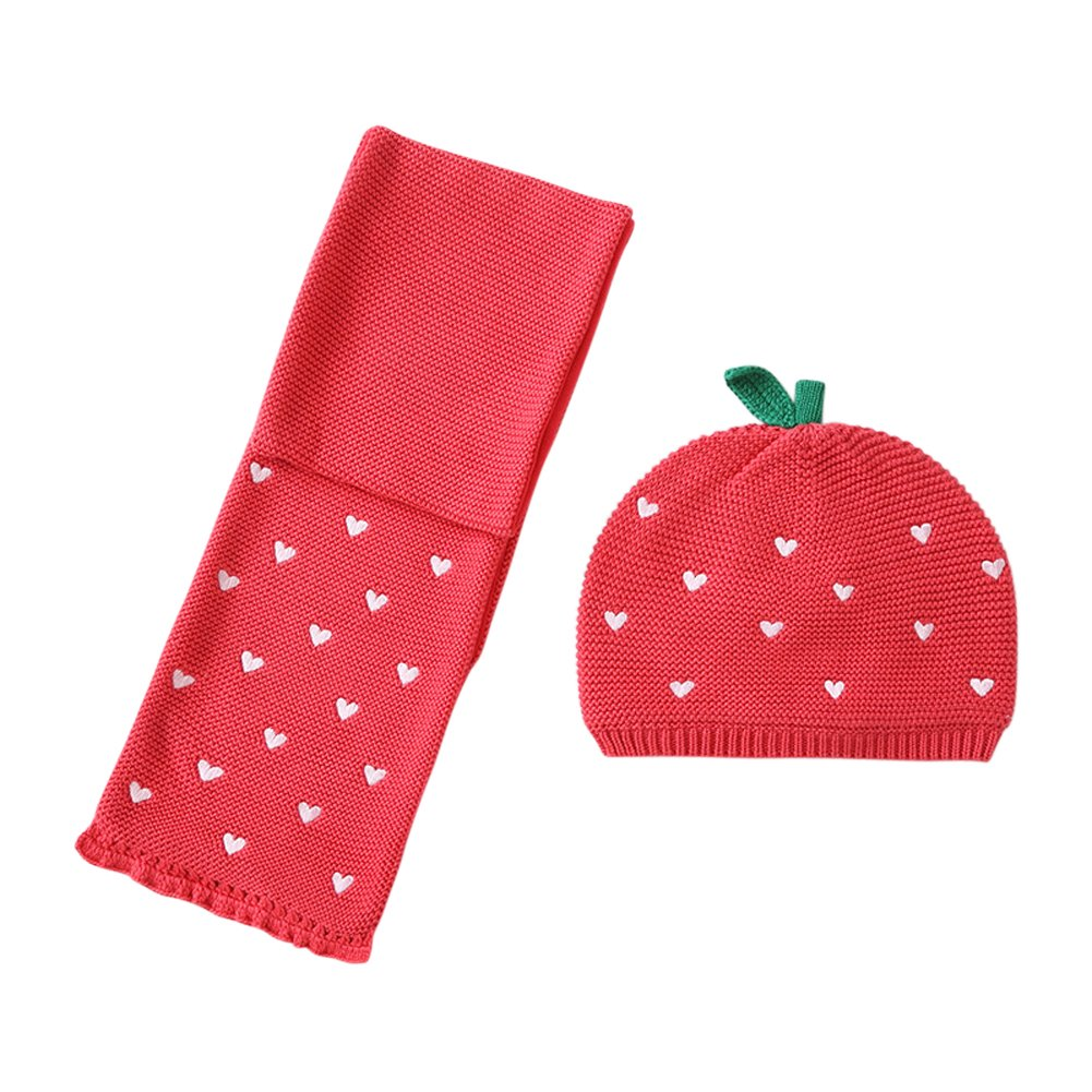 Genda 2Archer Pure Cotton Knitted Hat Lovely Strawberry Baby Girls Beanie Head Cap/Hat Scarf
