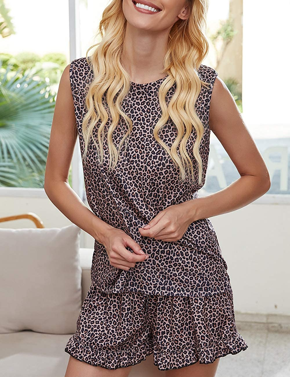Fanuerg Womens Tie Dye Print Tee and Shorts Pajama Set Sleepwear Nightwear