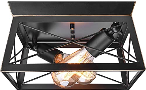 MStar Industrial Pendant Lights,Semi Flush Mount Close to Ceiling Light, Black and Gold Farmhouse Ceiling Lamp for Kitchen Island Dining Room Bedroom Foyer Hallway 2lt