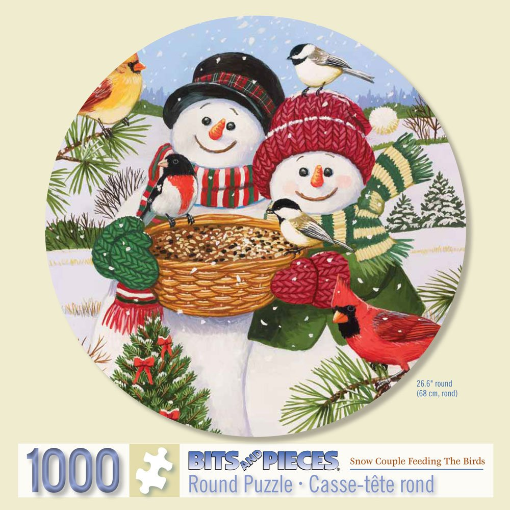 Bits and Pieces - 1000 Piece Round Puzzle - Snow Couple Feeding the Birds, Snowman Fun - by Artist William Vanderdasson - 1000 pc Jigsaw