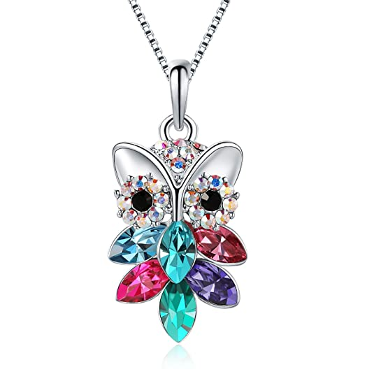 TOJEAN Christmas Day Gifts 'Owl of Minerva' Women Jewelry Swarovski Crystal Necklace, Gifts for Mom