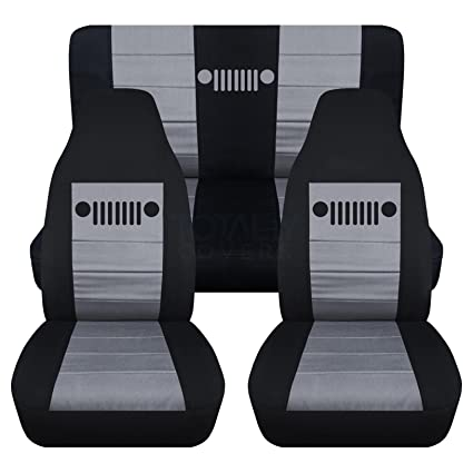 Jeep Wrangler Seat Covers >> Totally Covers Fits 1997 2006 Jeep Wrangler Tj Seat Covers Black Silver Full Set Front Rear 23 Colors 1998 1999 2000 2001 2002 2003 2004
