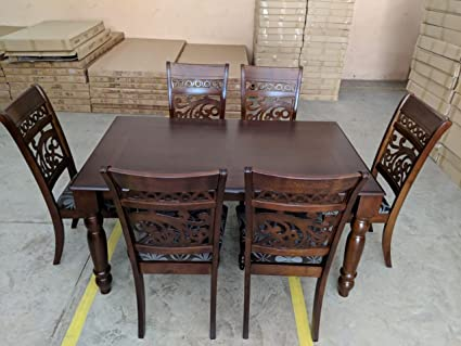 T2A Livez Wood Dining Table Set With Chair 6   Solid Wooden Dinner Table  And Antique