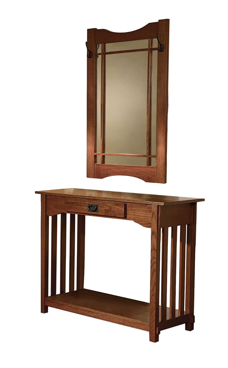 Amazon Powell Mission Oak Console and Mirror Kitchen & Dining