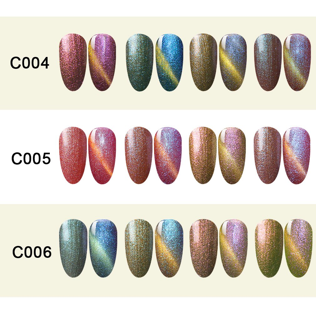 Beau Gel 4pcs colorido arco iris holográfica botes de laca de uñas Soak Off Manicura barniz brillante nail art Kit 10 ml