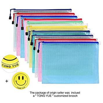 Bolsa de documentos de malla tamaño A3 con cremallera de plástico durable, paquete de 10