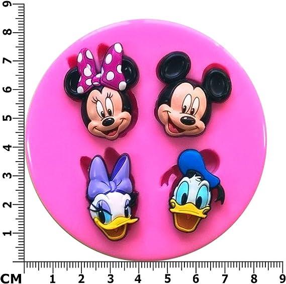 4 Incluso Herramientas de Molde de Pastel de Molde de Silicona Minnie Mouse para Cocina hogar Rojo
