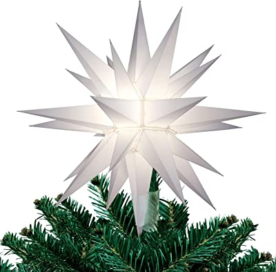 "12"" Moravian Star Christmas Tree Topper, Beautiful Bright White"