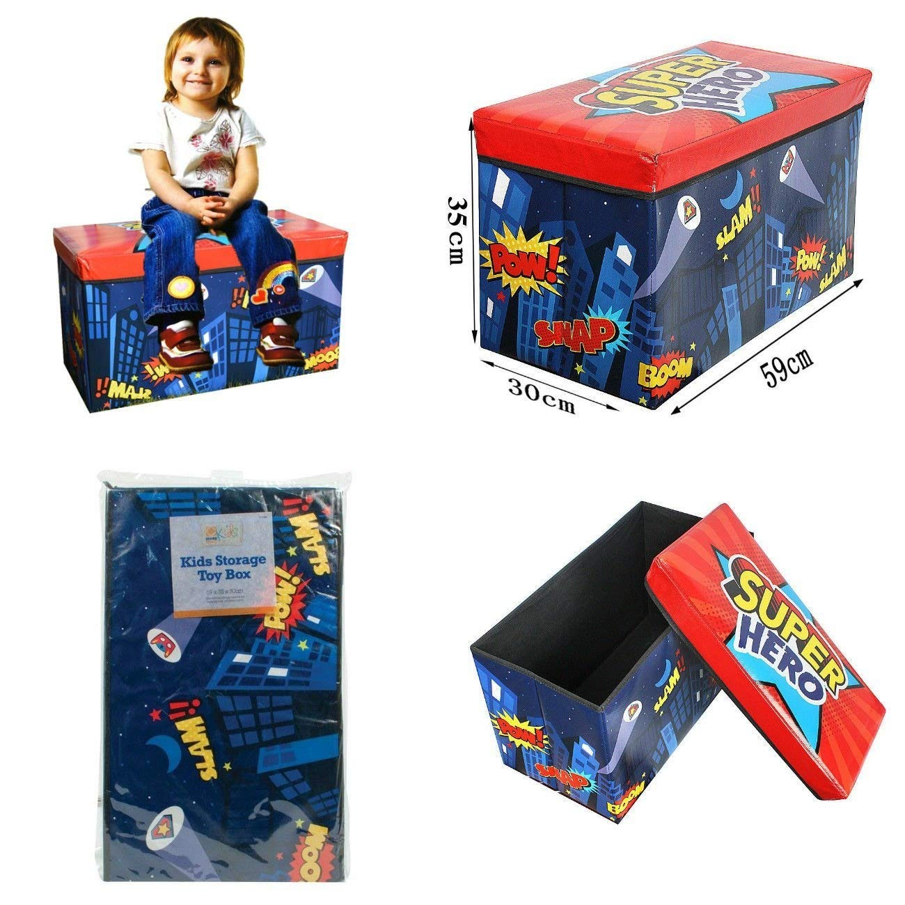 FunkyBuys Folding Kids Childrens Room Tidy Toy Storage Box With Lid Chest Organizer Multi-Colour Padded Seat Bench Stool (Super Hero)