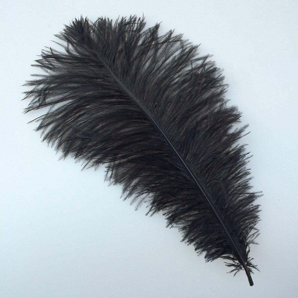 STOBOK Piume di struzzo artificiali piume di decorazione per la festa nuziale vestito maschera 10pcs 30-35 cm nero