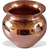 Santosh Bhakti Bhandar Combo of Handmade Copper Lota Kalash and Pooja Plate for Home and Temple